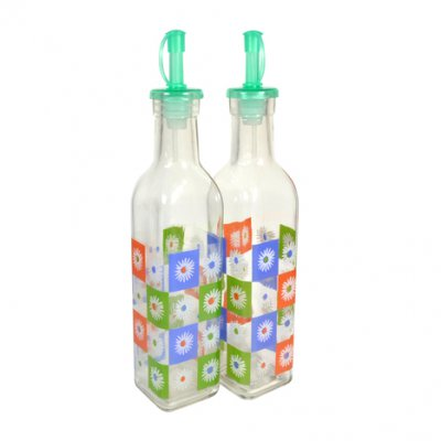 Glass bottles for oil and vinegar with geyser stopper V 300 ml (set of 2 pcs)